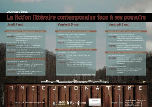 Affiche-Programme JE La fiction littéraire contemporaine face à ses pouvoirs